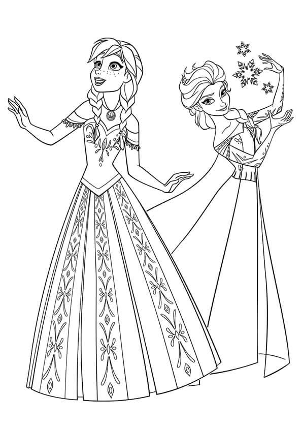 tranh tập tô màu cho bế hình công chúa Elsa Anna