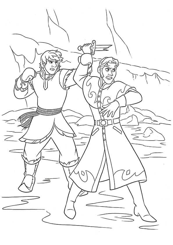 hình tô màu cho bé về cuộc chiến đấu của Hans và Kristoff